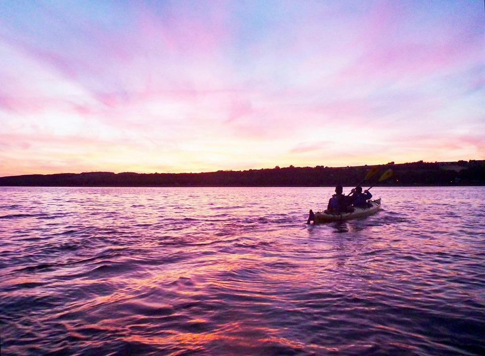 coucher de soleil kayak ile d'orléans