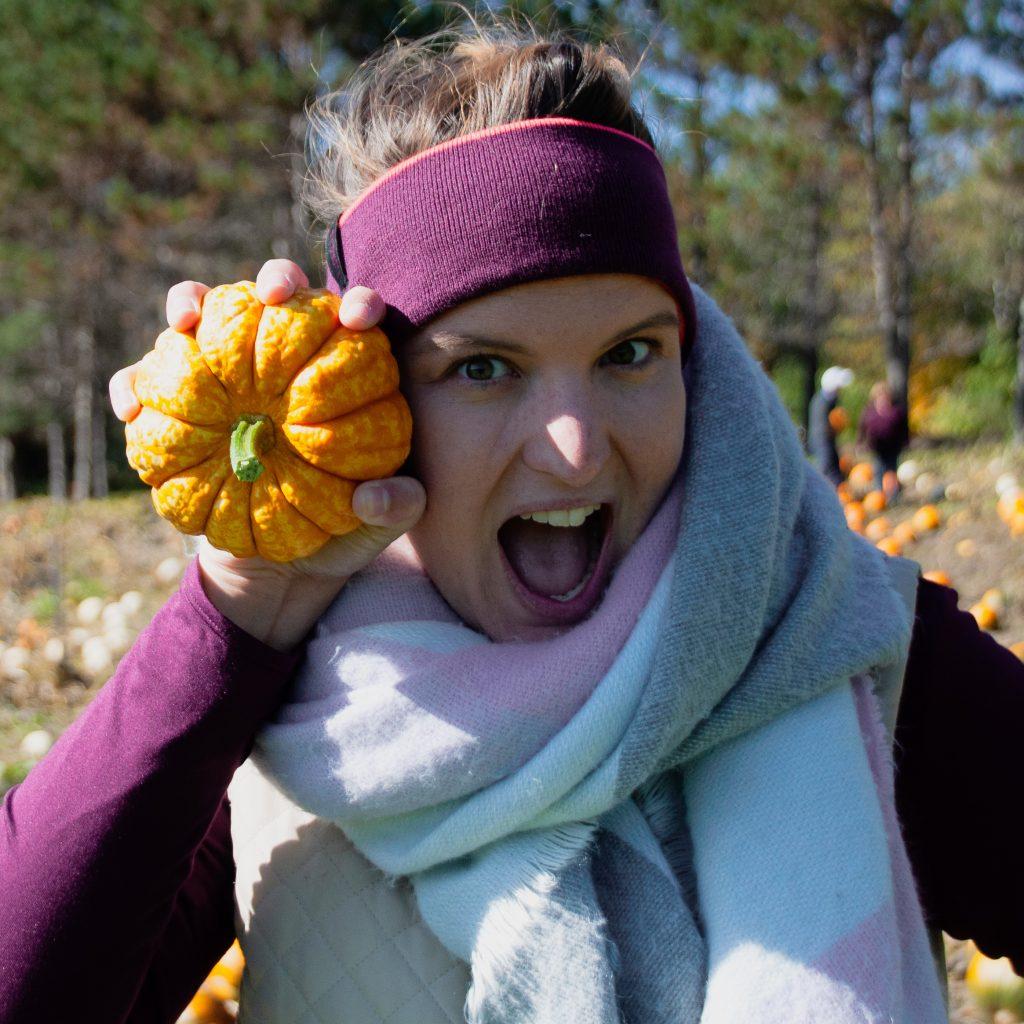 women with pumpkin
